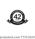 42th year anniversary logo design template 77353029