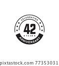 42th year anniversary logo design template 77353031