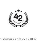 42th year anniversary logo design template 77353032