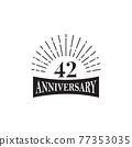 42th year anniversary logo design template 77353035