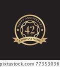 42th year anniversary logo design template 77353036