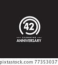 42th year anniversary logo design template 77353037
