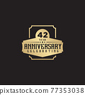 42th year anniversary logo design template 77353038