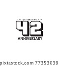 42th year anniversary logo design template 77353039