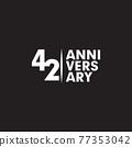 42th year anniversary logo design template 77353042