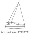 Sailboat line icon logo design marines, peedboat, ship, vessel, side view. Vector illustration outline simple element symbol 77359791