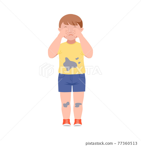 Embarrassed Little Boy in Dirty Clothes Crying Demonstrating Guilt Vector Illustration 77360513