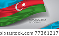 Azerbaijan happy republic day greeting card, banner with template text vector illustration 77361217