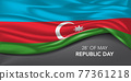 Azerbaijan happy republic day greeting card, banner with template text vector illustration 77361218