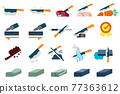 Maintenance of kitchen equipment flat icon. 77363612