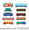 Set of train cargo wagons, cisterns, tanks, cars 77364426