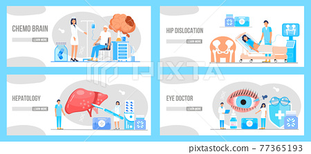 Medical ophthalmologist eyesight check up. Conjunctivitis concept vector. Rheumatoid arthritis of foot. Tiny doctors treat rheumatism, osteoarthritis. Concept of hepatitis A, B, C, D, cirrhosis. 77365193