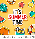 It's summer time background. Summer banner colorful tropical elements design. 77365978