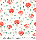 Cute toadstools seamless vector kids pattern repeat. Cute background mushroom fungi with smiling 77366258