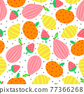 Abstract Fruit seamless vector background. Pear apple lemon strawberry repeating pattern cute bright 77366268