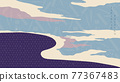 Abstract background with Japanese pattern vector. Oriental decoration banner design with natural landscape template in vintage style. 77367483