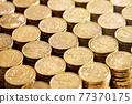 20 cent euro coins in stacks 77370175
