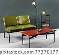 Retro furniture in living room 77370177