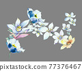 Colorful floral material combinations and design elements 77376467
