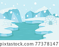 North pole Arctic landscape with ice igloo 77378147
