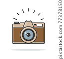 Flat style vintage camera vector sign 77378150