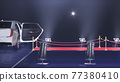 3d render red carpet with a limousine on the black background 77380410