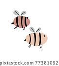 Funny bees with inscriptions. Vector naive characters in scandinavian hand drawn cartoon style. Isolated characters on a white background 77381092