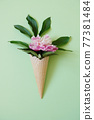 Peony leaf in a waffle cone. Summer concept. 77381484