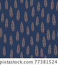 Doodle feather silhouettes seamless pattern in doodle style. Navy blue background. Grey little print. 77381524