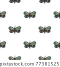 Seamless pattern in isolated style with doodle folk butterfly shapes. White background. Nature backdrop. 77381525