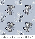 Insect seamless pattern with hand drawn folk butterfly shapes with botanic print. 77381527
