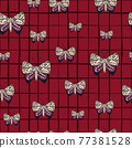 Seamless nature pattern with random folk stylized butterflies print. Red chequered background. 77381528