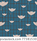 Grey random stingray hand drawn silouettes seamless pattern. Blue chequered background. 77381530