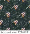 Purple imperial angelfis silhouettes seamless pattern in hand drawn style. Green dark dotted background. 77381531