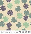 Hand drawn botanic abstract exotic leaves seamless pattern. Random foliage print. Beige background. 77381535