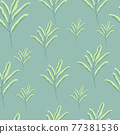 Random green floral branches with leaves seamless doodle pattern. Pastel blue background. Nature backdrop. 77381536