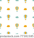 Vector scandinavian baby Seamless pattern of colorful air balloons and clouds isolated on white background. Simple kids illustration texture for nordic wallpaper, fills, web page background 77381585