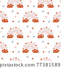 Cute seamless vector pattern with hand drawn scandinavian rainbows and polka dot elements. Background illustration for design baby and kids products 77381589