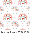 Cute seamless vector pattern with hand drawn scandinavian rainbows and polka dot elements with hearts love. Background illustration for design baby and kids products 77381590
