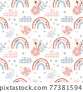 Cute spring seamless vector pattern with hand drawn scandinavian rainbows and polka dot elements with flower branches summer. Background illustration for design baby and kids products 77381594