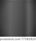 Silver metal texture with round holes and reflection chrome surface. Circle mesh pattern as grid, grate, grille. Gray metal perforated background for industrial and technology. Jpeg 77382829