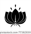Black lotus silhouette with white contour and decor. Water lily icon, isolated flower symbol for design. Jpeg illustration 77382830