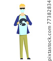 Young man in mask and sunglasses on white background. Fashion boy with modern hairstyle standing with his hands on his jacket. Cartoon isolated jpeg illustration 77382834