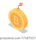 Isometric Golden Bitcoin with Burning Fuse 77387557