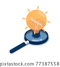 Isometric Light Bulb of Idea with Word Solution Inside Over Magnifying Glass 77387558