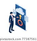 Isometric Businessman Using Cloud Computing on Smartphone 77387561