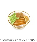 Braised pork rice, a digital painting of Taiwanese traditional braised pork and rice bowl with sliced cucumber, bean curd food raster 3D illustration isolated on white background. 77387853