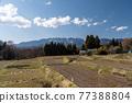 field, mountain, landscape 77388804