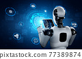 Robot humanoid using tablet computer in concept of AI thinking brain 77389874