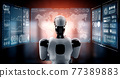 Thinking AI humanoid robot analyzing hologram screen showing concept big data 77389883